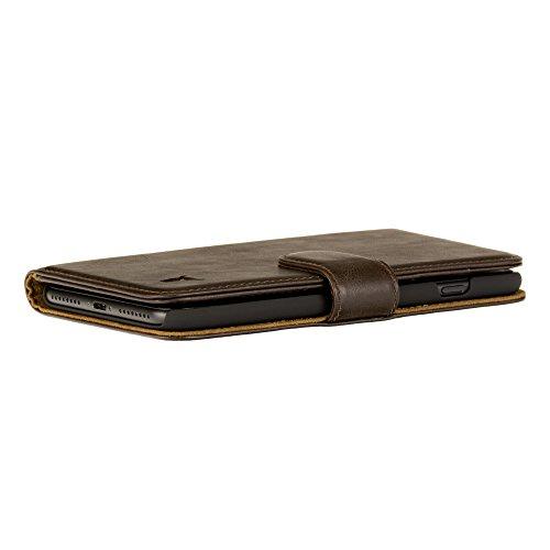 Etui iPhone 8 / iPhone 7 de TORRO en Cuir Véritable, Coque Housse Etui Portefeuille noir, en cuir de vache véritable de l'Italie pour iPhone 7 / iPhone 8 Marron Fonce