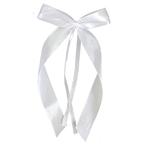 Miya@ 25 hochwertige Weis Antenneschleifen aus Satin, Auto Schleifen, Hochzeit Deko, Autoschmuck