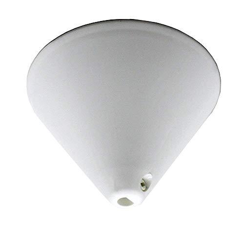 Baldachin Weiß Kunststoff ø 110mm mit Feststellschraube für Zuleitung Lampenkabel Pendelleuchte Leuchtentopf Lampentopf Deckentopf Pyramide Kegelform