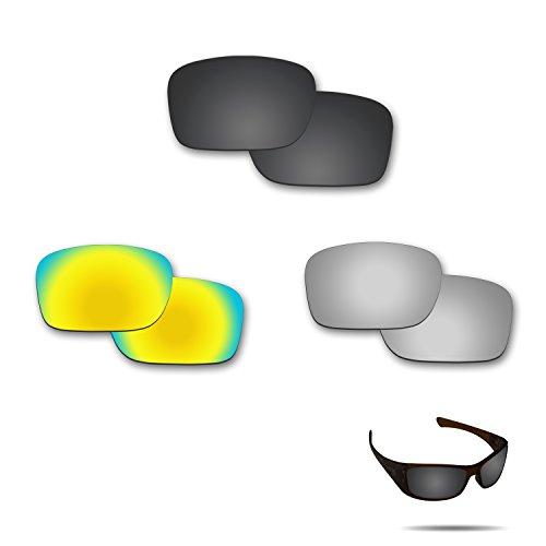 fiskr anti-saltwater Polarisierte Ersatz Gläser für Oakley Hijinx 3Paar Pack, Stealth Black & Metallic Silver & 24K Gold