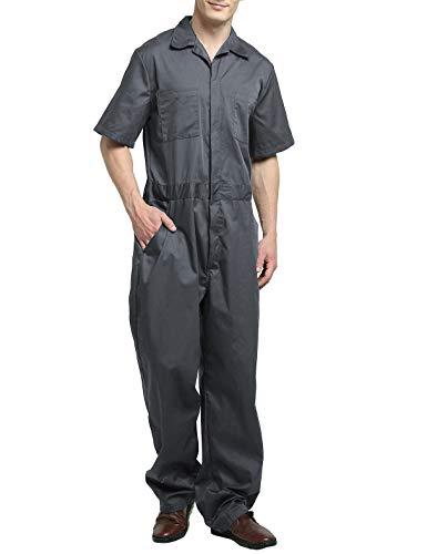 TOPTIE Tuta da lavoro manica corta leggera da uomo con la vita elastica Gray 2XL