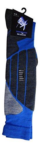 Palleon 2 Paar Unisex Wintersport Kniestrümpfe Ski- und Snowboard Socken 39-42 / blau