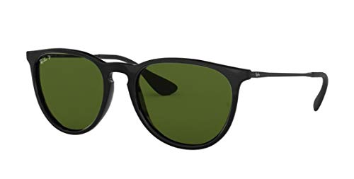 Ray-Ban RB4171 ERICA Unisex Polarized Aviator Sunglasses (Black Frame, Polarized Green Lens 601/2P)