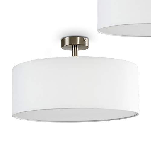 Deckenlampe Foggia mit Stoffschirm - Deckenlampe mit textilem Lampenschirm in Weiß Ø 40 cm - Zimmerlampe für Wohnzimmer, Flur, Dielen, Schlafzimmer, Küche - LED-fähig -3x E27-Fassungen mit 40 Watt