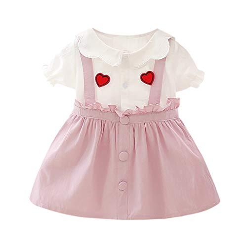 DQANIU- ❤️❤️Baby Kleider, Kinder und Mutter - Mädchen Kleid & Rock Infant Baby Mädchen Mode Sommer Kurzarm Liebe Print Rüschen Prinzessin Kleid Kleidung (Einfache Cartoon Figur Kostüm Ideen)