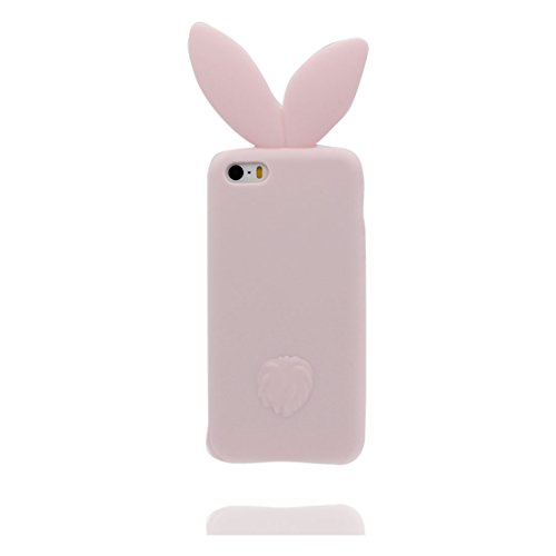 iPhone 5 Coque, Étui Cover Housse pour iPhone 5S 5C 5G, Durable TPU Rubber Skin Soft Shell iPhone SE Case, Résistant à la poussière Scratch (3D Cartoon lapin oreille) et stylet Pink Pink 2