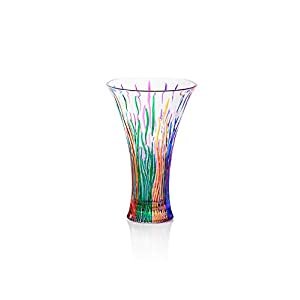 Fire Vase Multicolor Hand bemalt Glas Murano Stil Venedig