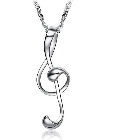 Andonger Silver Plated Glossy musica Smooth Nota pendente della collana di fascino del simbolo
