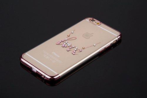 Custodia iPhone 7, iPhone 7 Cover Silicone, SainCat Cover per iPhone 7 Custodia Silicone Morbido, Custodia Bling Glitter Strass Diamante Silicone 3D Design Ultra Slim Silicone Case Ultra Sottile Morbi Lettere AMORE #2
