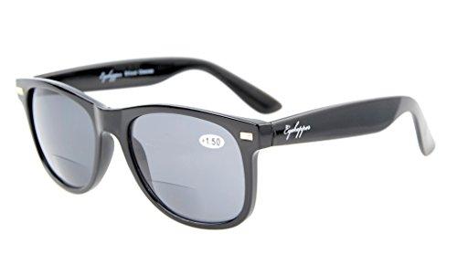 Eyekepper Bifokal Sonnenbrille der Frauen der Männer Sonne Leser Retro-Klassiker Schwarz+2.0