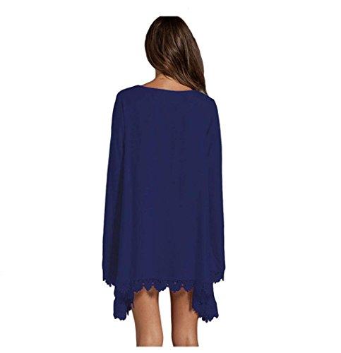 Europe et col V à manches longues en dentelle Broder des femmes sauvages des États-Unis perdent Mini robe hip robe de la hanche Blue