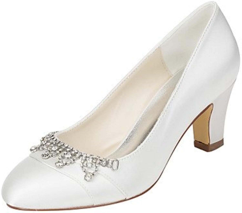 Zormey Women'S Heels Spring Fall Club Shoes Stretch Satin Wedding Party &Amp; Evening Dress Chunky Heel Crystal...