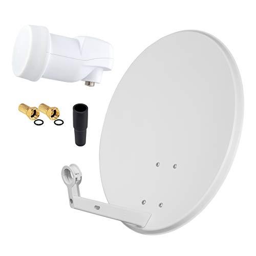HD Digital SAT Anlage 60cm Spiegel Schüssel Hellgrau Stahl + Single LNB 1 Teilnehmer zum Empfang von DVB-S/S2 Full HD 3D 4K Ultra HD (UHD) Signale + Stecker Gratis dazu im Set