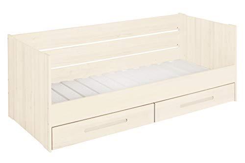 BioKinder Funktionsbett Schlafsofa Kojenbett mit Lattenrost und 2 Bettkästen Lina aus Massivholz Kiefer 90 x 200 cm weiß lasiert -