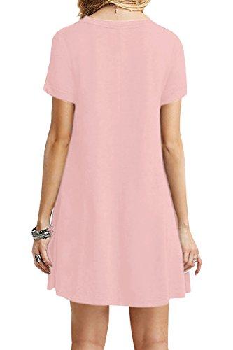 YMING Damen Casual Langes Shirt Lose Tunika Kurzarm T-Shirt Kleid 24 Farbe,XS-XXXXL(32-50) Rosa