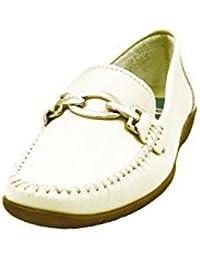 03a71eab39 Zapato Mujer Casual Mocasin Marca DELTELL EN Piel Color Beige Adorno  Estribo metalico 426-26N