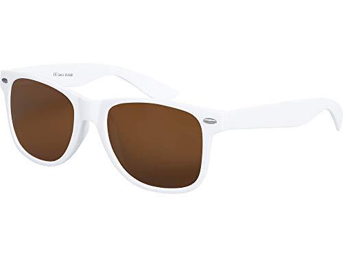 Hochwertige Nerd Sonnenbrille matte Rubber Retro Vintage Unisex Brille mit Federscharnier - 101 verschiedene Farben/Modelle wählbar (Weiß - Braun)