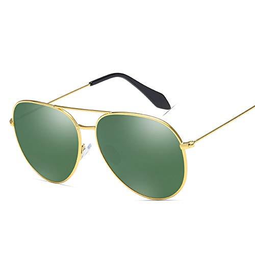 Mode Farbfilm Brille Männer Frauen Trend Sonnenbrille Metall polarisierte Sonnenbrille Brille (Color : 01Dark Green, Size : Kostenlos)
