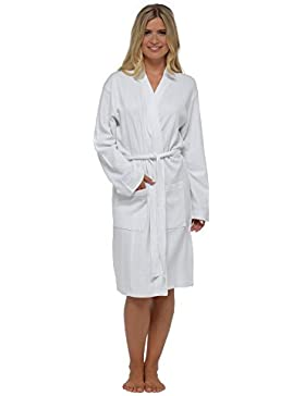 Donna Waffle Accappatoio Vestaglia, morbido 100% cotone scialle Kimono