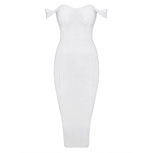 HLBandage Women's Sexy Slash Neck Off Shoulder Midi Bandage Dress Bianco