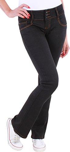 Black Denim BD Damen Boot-Cut Jeans Schlaghosen Ausgestellt schwarz Damenjeans (38/M) (Skinny Black Jeans Denim)