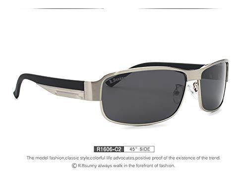 LKVNHP Hohe Qualität Hd Polarisierte Sonnenbrille MännerMarkendesignerMännlichen Vintage Sonnenbrille FahrenAngelbrilleMit Allem ZubehörR1606 C2 Box