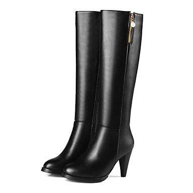 Rtry Femmes Chaussures Similicuir Mode Hiver Bottes Bottes Chunky Talon Bout Rond Genou Bottes Pour Vêtements De Sport Noir Beige Us6 / Eu36 / Uk4 / Cn36