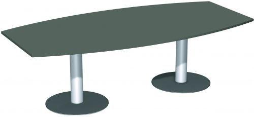 Konferenztisch Tellerfuß, Faßform, 240x80-120cm, Graphit