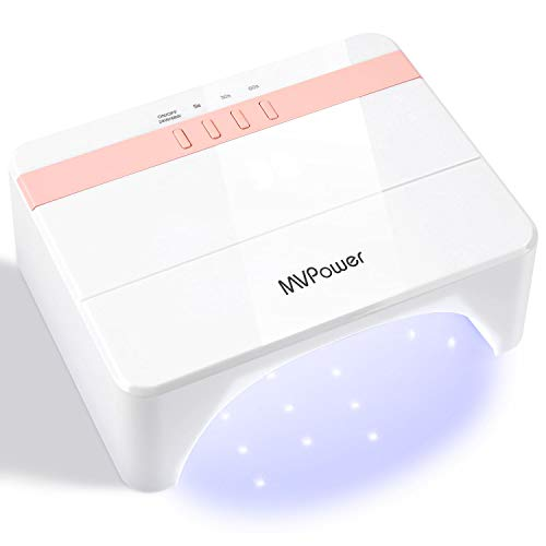MVPOWER Sèche Ongles Portable, 24W/48W UV LED Lampe Professionnelle, Faible Chaleur avec 3 Minuteries de 5s/30s/60s, LCD Ecran, Lumière Bleu,Séchage Rapide pour Vernis à Ongles et Gel