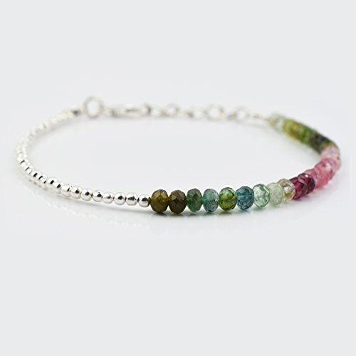 Blau Grün Pink Turmalin Bar Armband mit Sterling Silber Beads & Findings 6.50