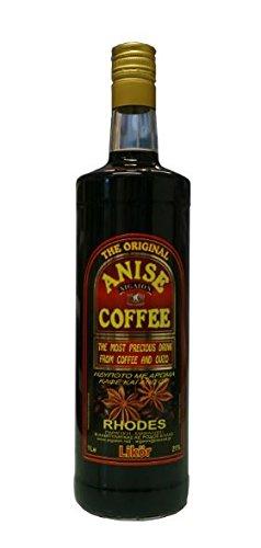 Kaffee & Ouzo Likör 1 Liter Flasche Kaffeelikör 21% Vol. Anis Coffee Liquer aus Rhodos Griechenland