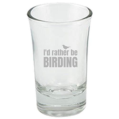 Divertido vaso de chupito para observación de aves, regalo para pájaros y ornitólogo, con texto en inglés'Rather Be Birding'