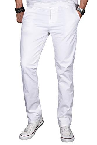 A. Salvarini Herren Designer Chino Stretch Stoff Hose Chinohose Regular Slim mit Elasthananteil AS024 [AS-024-Weiss-W34 L34] - Stretch Hose, Stoff