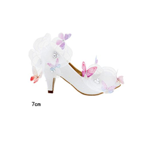 QPYC Scarpe da sposa per le donne scarpe da sposa per adulti Scarpe da sposa in cristallo di sposa in puro scarpe da sposa delle donne fidanzate Fiori bianchi farfalla 7cm white