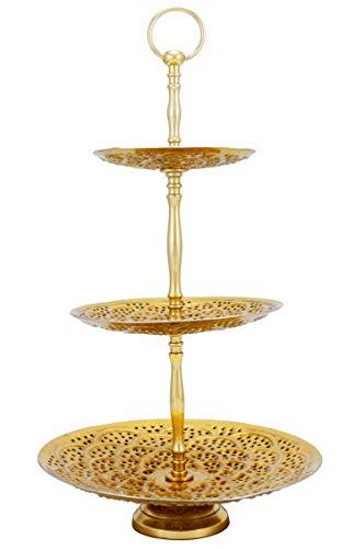Expositor oriental de 3 pisos de metal Aghdas Oro 50 cm de alto   Soporte para poner frutas, magdalenas, cupcakes o pasteles   Decoración marroquí en la mesa de tu boda