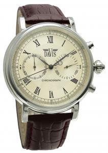 Davis 856 Men's Analog Mechanical Watch with Chronograph and Brown Leather Strap