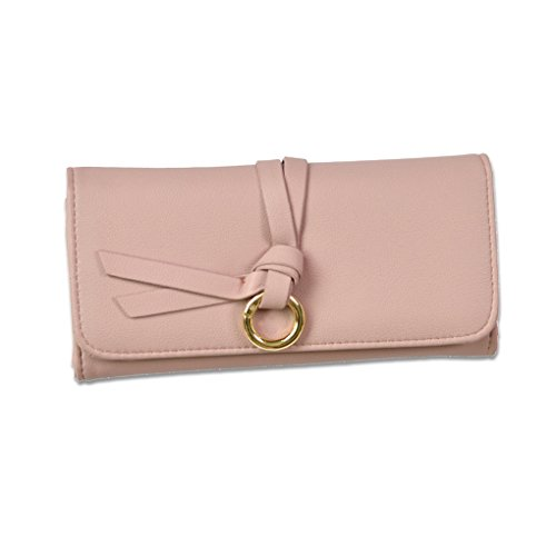 KOROWA Portafoglio semplice multifunzione donna a frizione lunga con borsa in pelle LeatherRse con raccoglitore in lega Deocr rosa