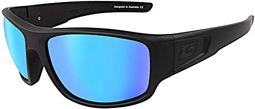 Dirty Dog 53554 Satin Black Satin Black Muffler Rectangle Sunglasses Polarised Lens Category 3 Lens Mirrored Size 63mm