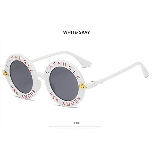 YOGER Sonnenbrillen Retro Runde Sonnenbrille Englisch Buchstaben Kleine Biene Sonnenbrille Männer Frauen Brille Designer Mode Männlich Weiblich