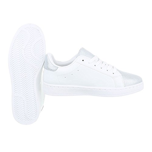 Ital-Design Low-Top Sneaker Damenschuhe Low-Top Sneakers Schnürsenkel Freizeitschuhe Weiß Silber R-210
