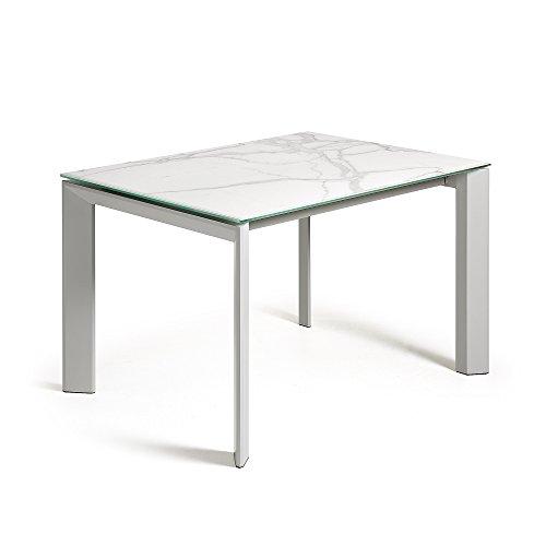 Kave Home Table Extensible Axis, Gris et kalos Blanc 120(180) x80 cm
