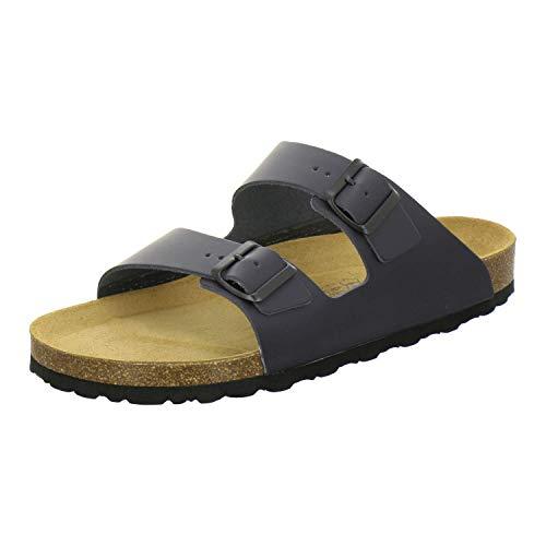 AFS-Schuhe 3100 Bequeme Pantoletten für Herren Leder, Hausschuhe Arbeitsschuhe, Made in Germany Größe 47 EU Blau (Navy)
