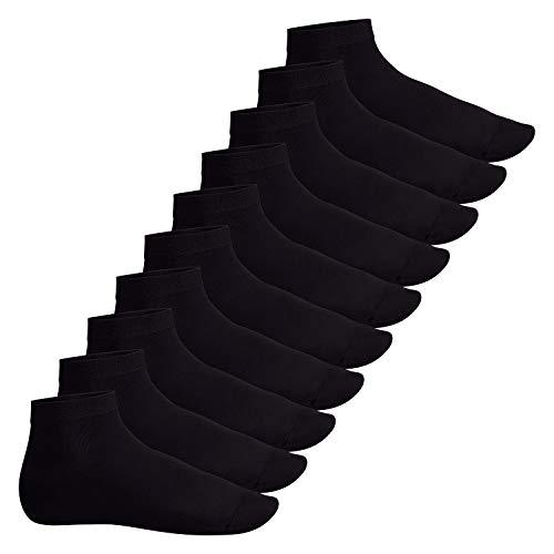 Footstar Herren & Damen Kurzschaft Socken (10 Paar) - Sneak it! - Schwarz 43-46