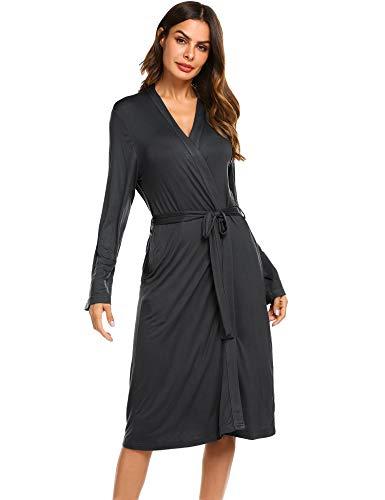 Morgenmantel Damen sexy langrobe Pyjama Jersey Robe Frauen Bademantel Sommer Schwangere Saunamantel Schlafanzug weich schlafmantel Pyjama schwarz