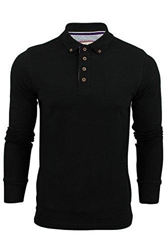 Herren Polohemd T-Shirt von Brave Soul 'Lincoln' Piquet Langärmelig (Schwarz) (Schwarzer Lincoln Hat)