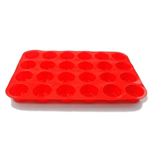 TPulling Moule Silicone Forme de Rond couer DIY Créatif Anniversaire Chocolat pâtisserie Savon Moule 24 cavité Mini Muffin Silicone Savon Biscuits Cupcake Cuisson Casserole (Rouge)