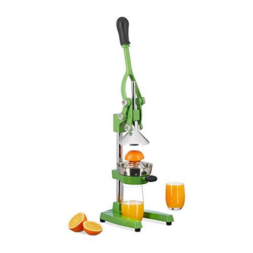 Relaxdays Manuelle Saftpresse aus Eisen und Edelstahl, Zitruspresse für Orangen, professionelle Hebelpresse, grün