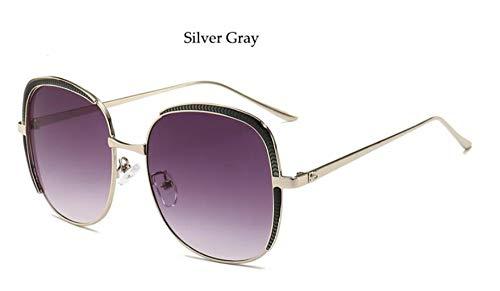 Sonnenbrille Neue Ankunft Frauen Sqaure Frame Sonnenbrillen Marke Übergroße Metall Sonnenbrille Vintage Farbverlauf Farben Uv400 Silber Grau