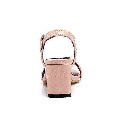 zhENfu Donna Sandali Comfort similpelle Estate Casual imitazione perla Chunky Heel arrossendo rosa fucsia bianco nero 3A-3 3/4in Black