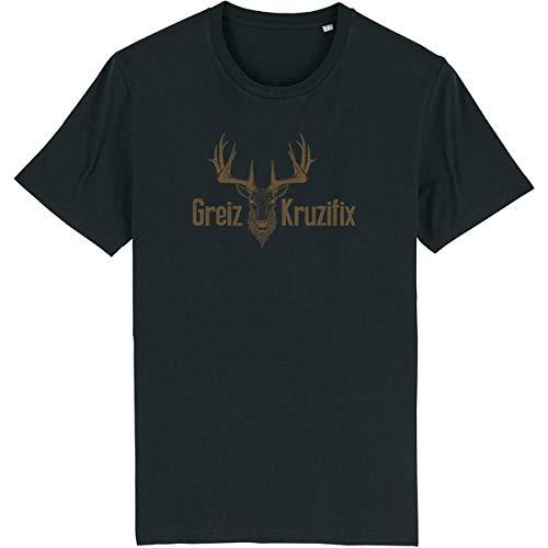 Trachten T-Shirt Greiz Kruzifix Bio Baumwolle S-3XL Trachtenshirt Oktoberfest Bayrisch Wiesn Lederhosen Männer Herren Hirsch Österreich (Schwarz-Braun, S)